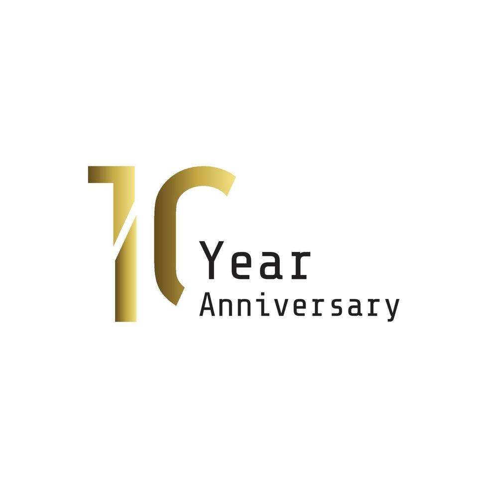 10 jaar verjaardag viering gouden kleur vector sjabloon ontwerp illustratie