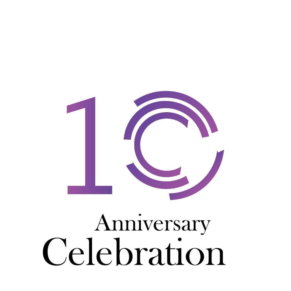 10 jaar verjaardag viering paarse kleur vector sjabloon ontwerp illustratie