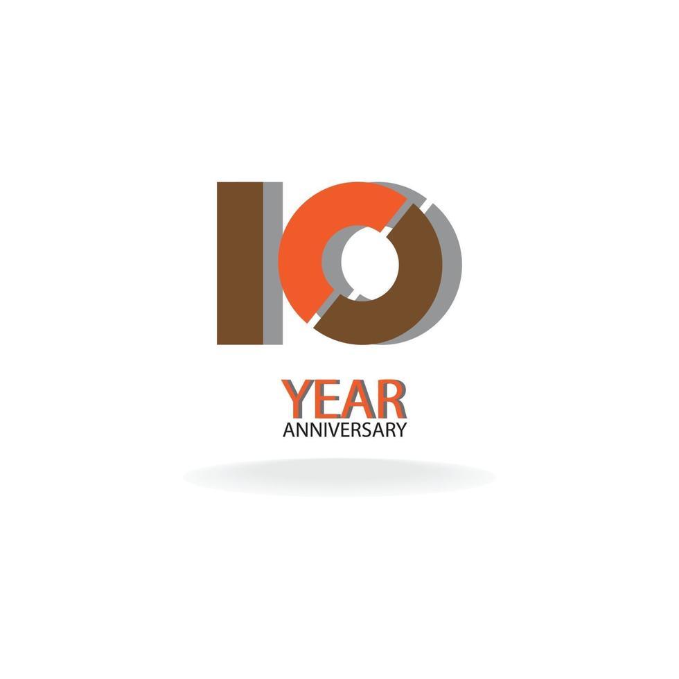 10 jaar verjaardag viering kleur vector sjabloon ontwerp illustratie