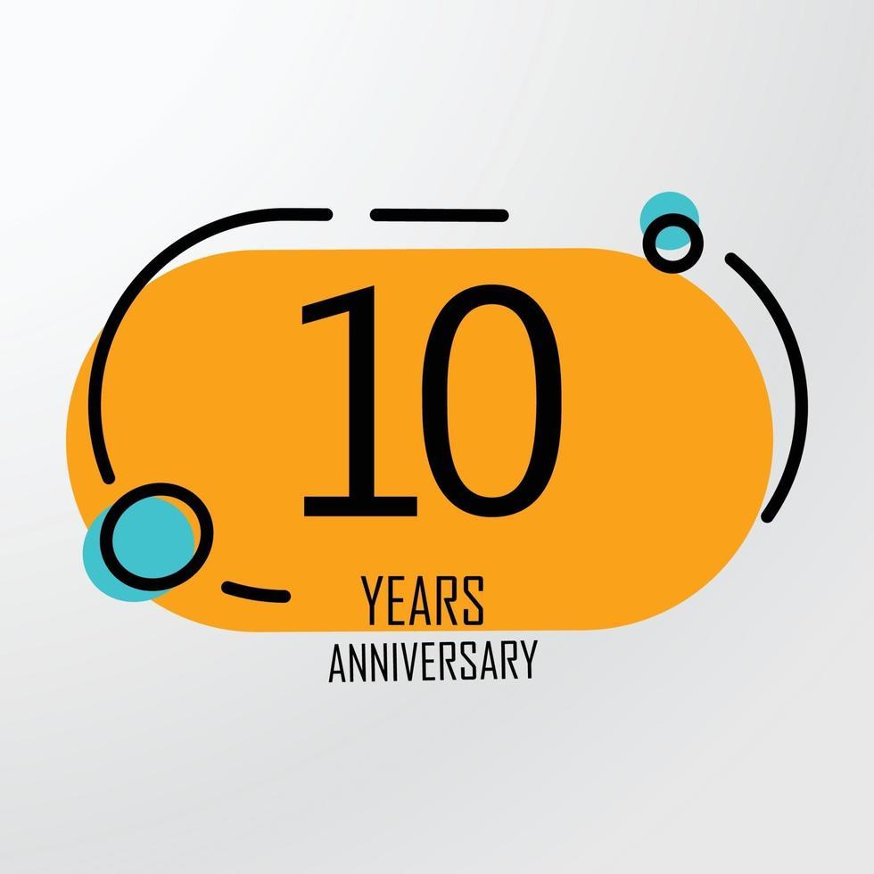 10 jaar verjaardag viering oranje kleur vector sjabloon ontwerp illustratie