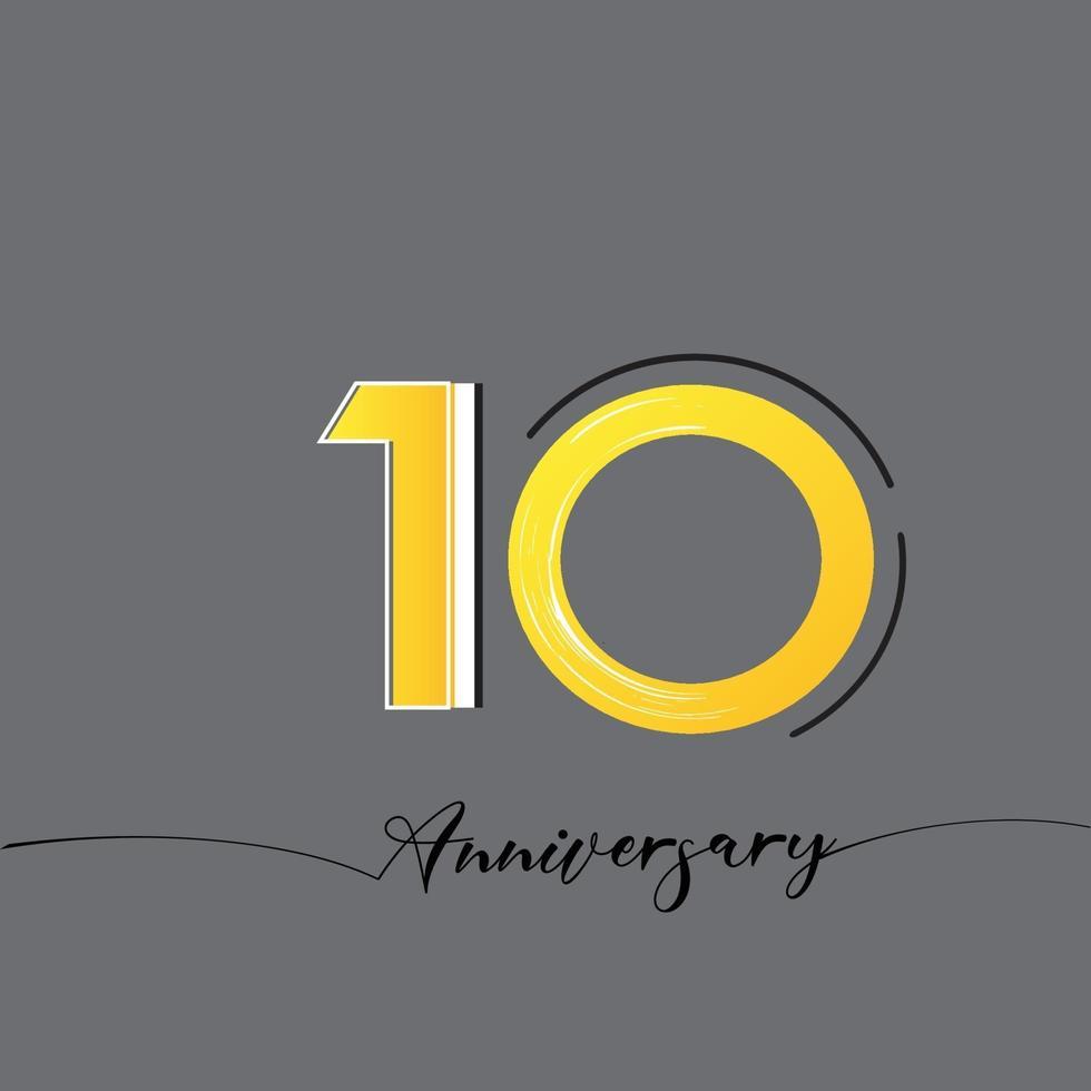 10 jaar verjaardag viering gele kleur vector sjabloon ontwerp illustratie