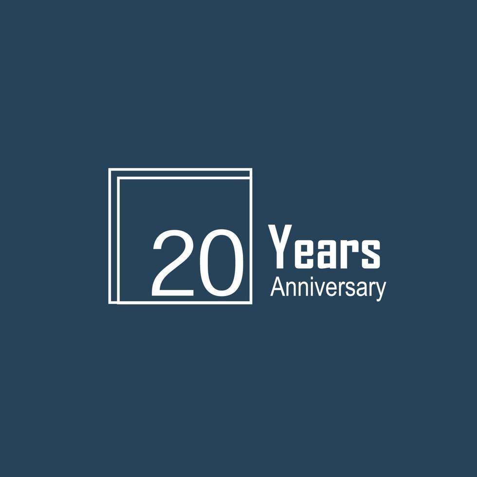 20 jaar verjaardag viering blauwe kleur vector sjabloon ontwerp illustratie