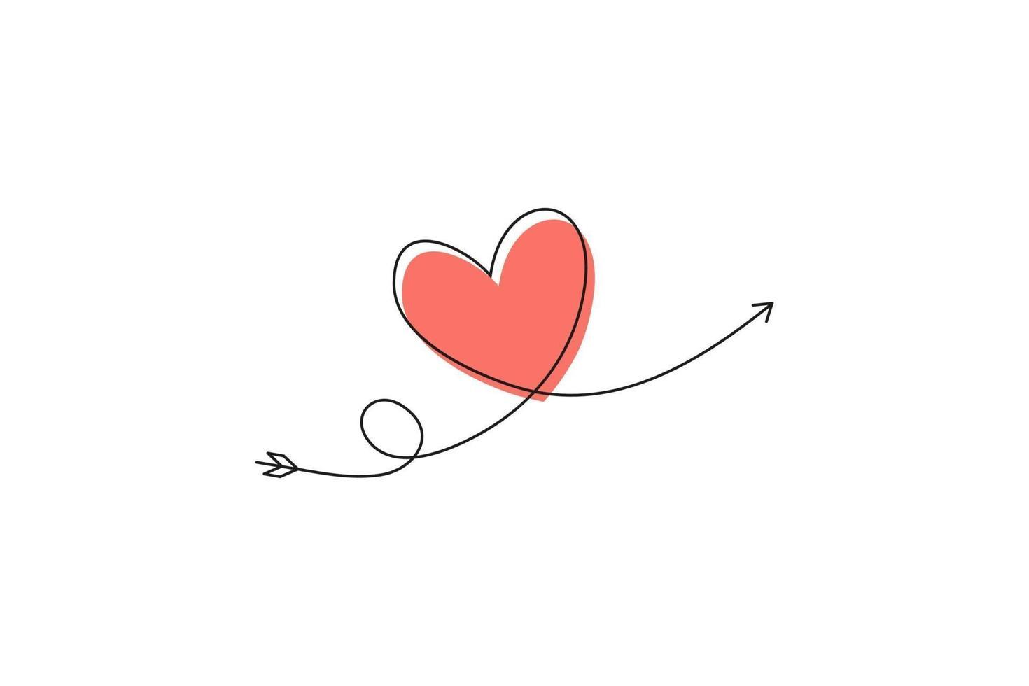 cupido's pijl in de doorlopende lijntekening in de vorm van een hart en de tekst love in een vlakke stijl. doorlopende zwarte lijn. symbool van liefde en tederheid. vector