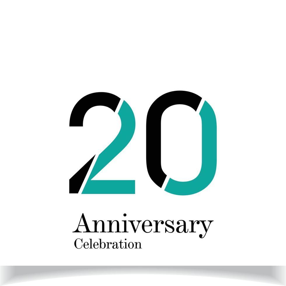 20 jaar verjaardag viering zwarte blauwe kleur vector sjabloon ontwerp illustratie