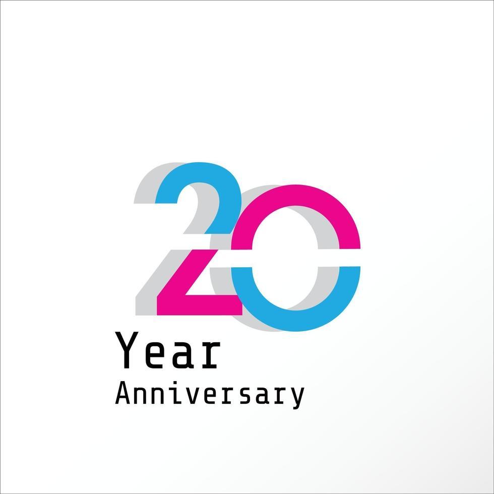 20 jaar verjaardag viering blauw roze kleur vector sjabloon ontwerp illustratie