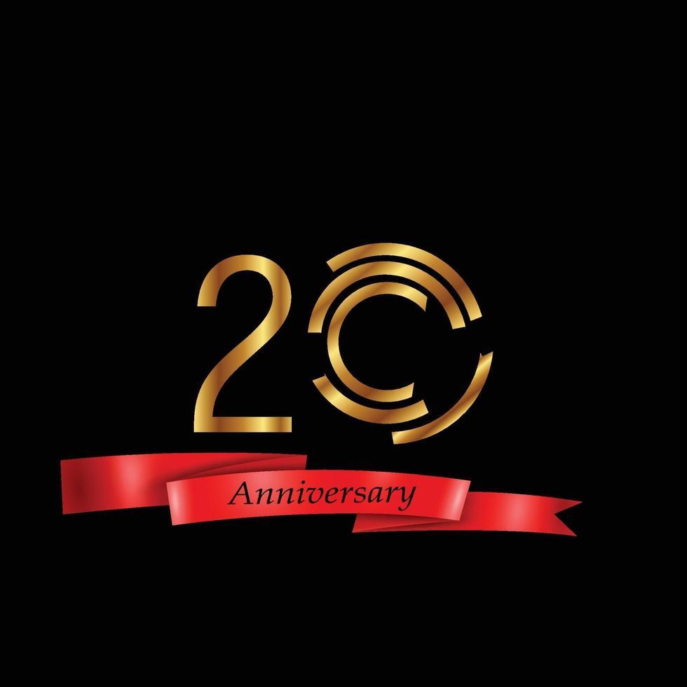 20 jaar verjaardag viering goud zwarte achtergrond kleur vector sjabloon ontwerp illustratie
