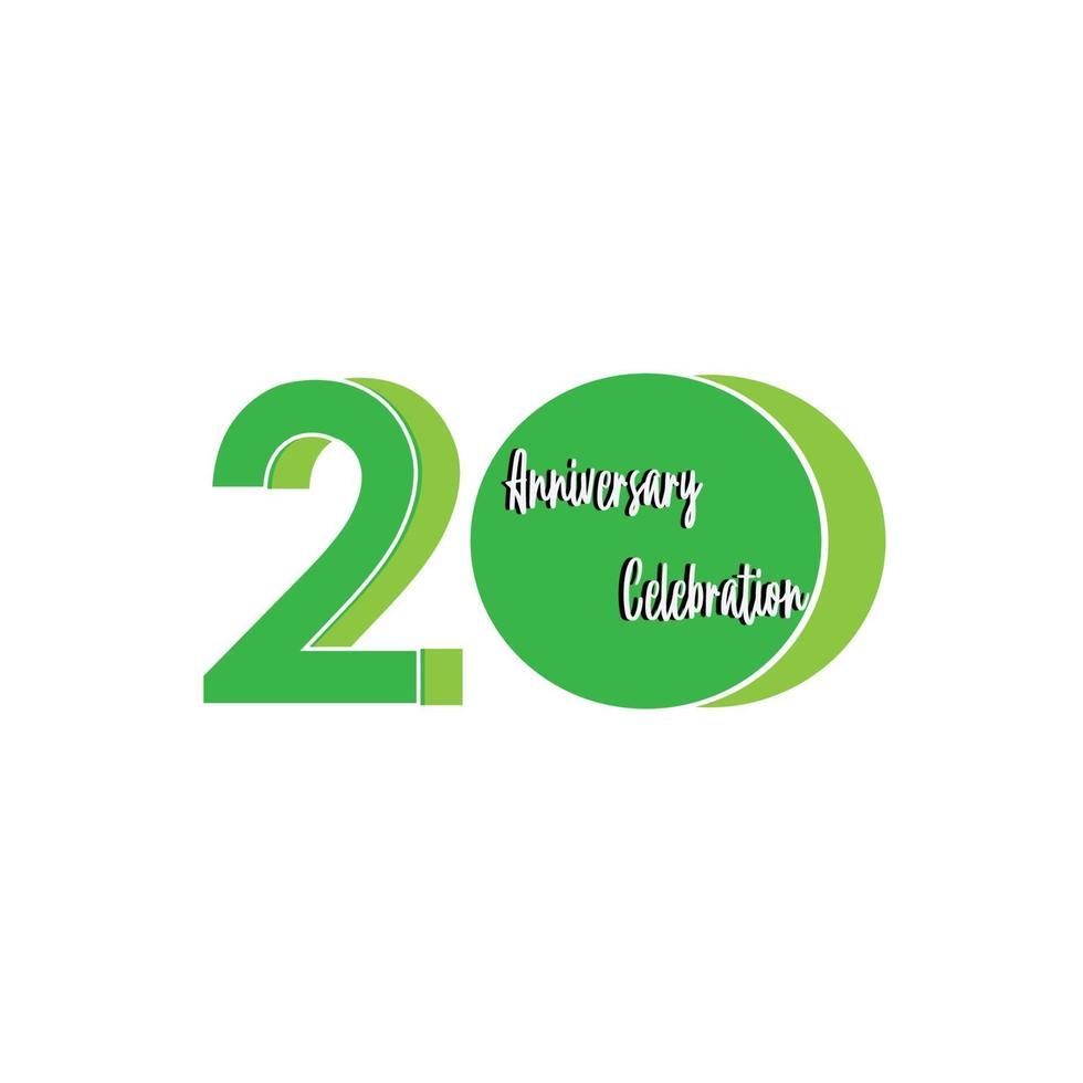 20 jaar verjaardag viering groene kleur vector sjabloon ontwerp illustratie
