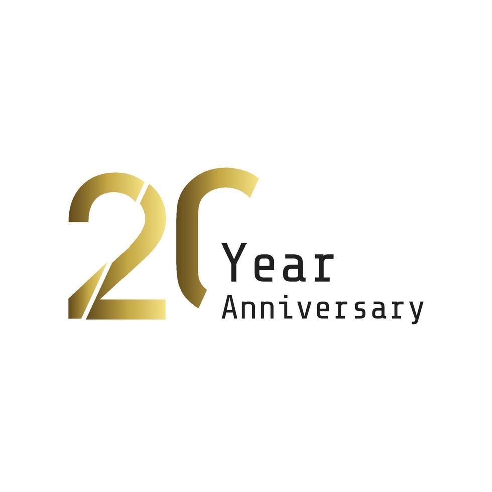 20 jaar verjaardag viering gouden kleur sjabloon ontwerp vectorillustratie vector