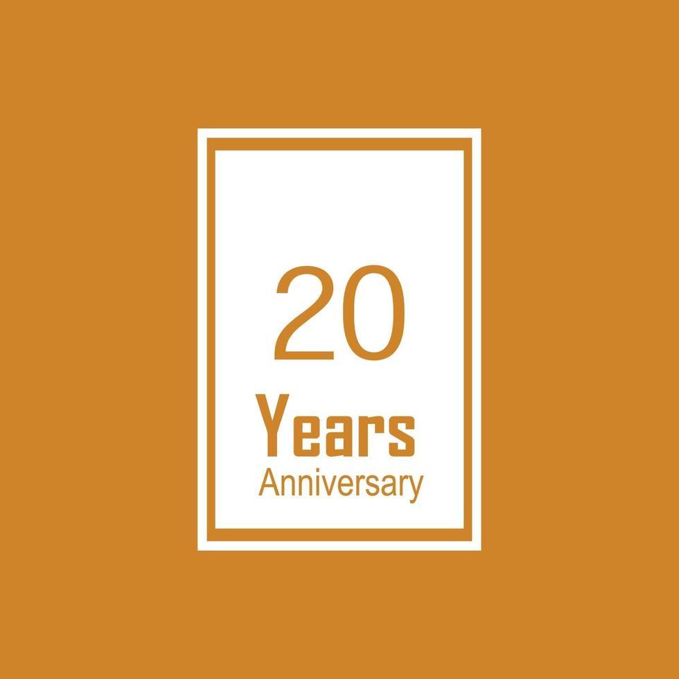 20 jaar verjaardag viering oranje kleur vector sjabloon ontwerp illustratie
