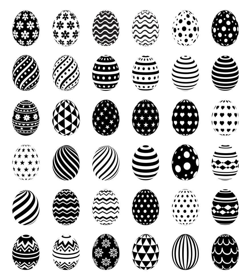 set van paaseieren met patronen symboolpictogrammen. vector illustraties.