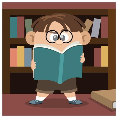 Boy leesboek vector