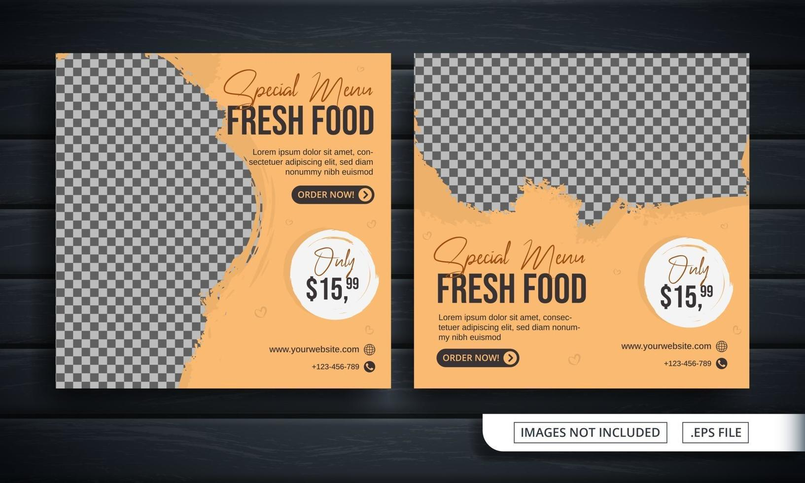 flyer of sociale media-banner voor verse menuverkoop vector