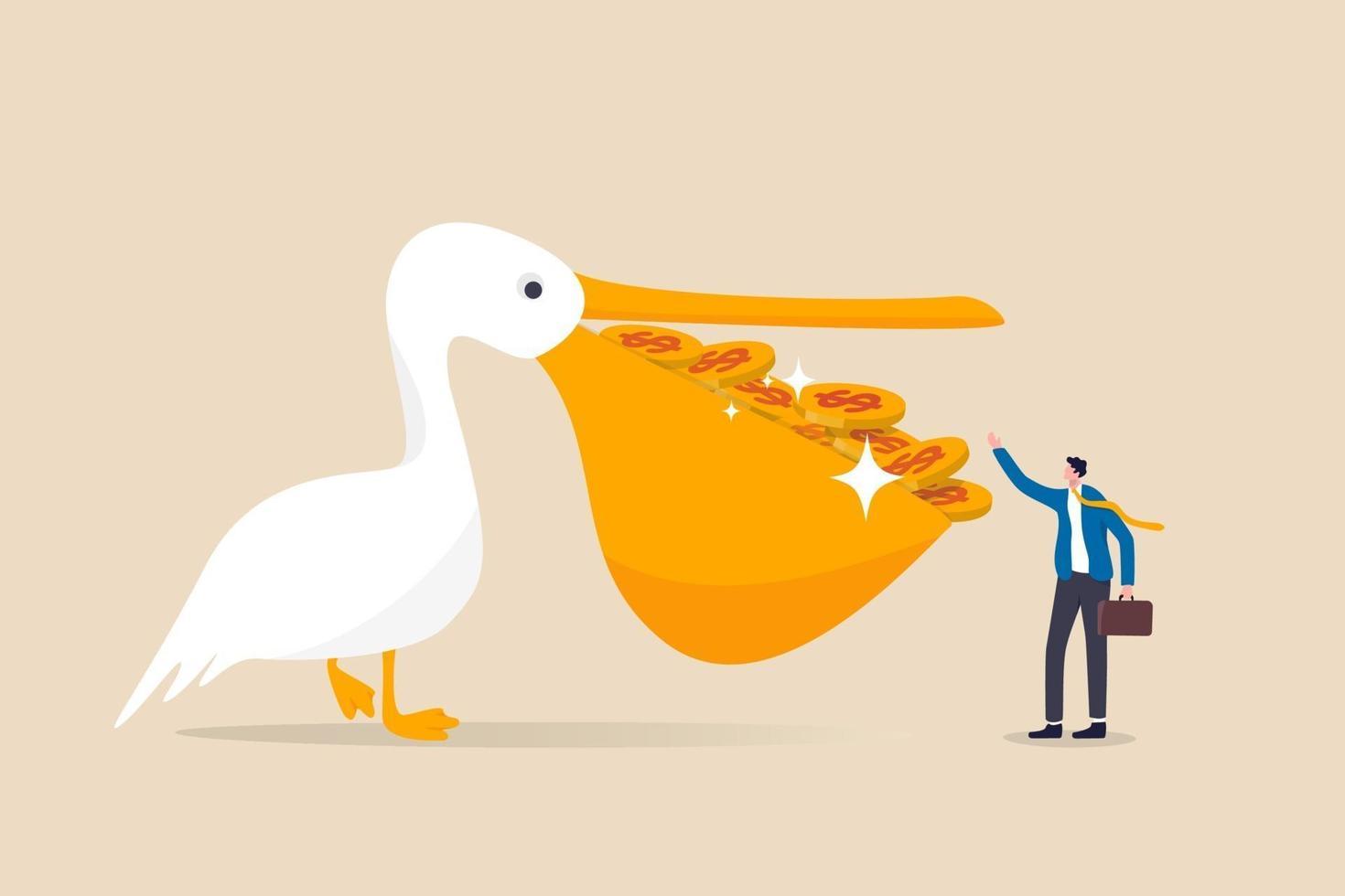 pelikaanvogel vol dollargeldmunten in zijn mond met een rijke investeerder vector