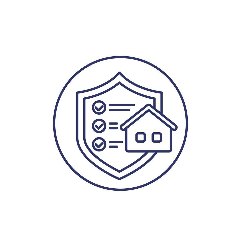 huis verzekering lijn pictogram op wit vector