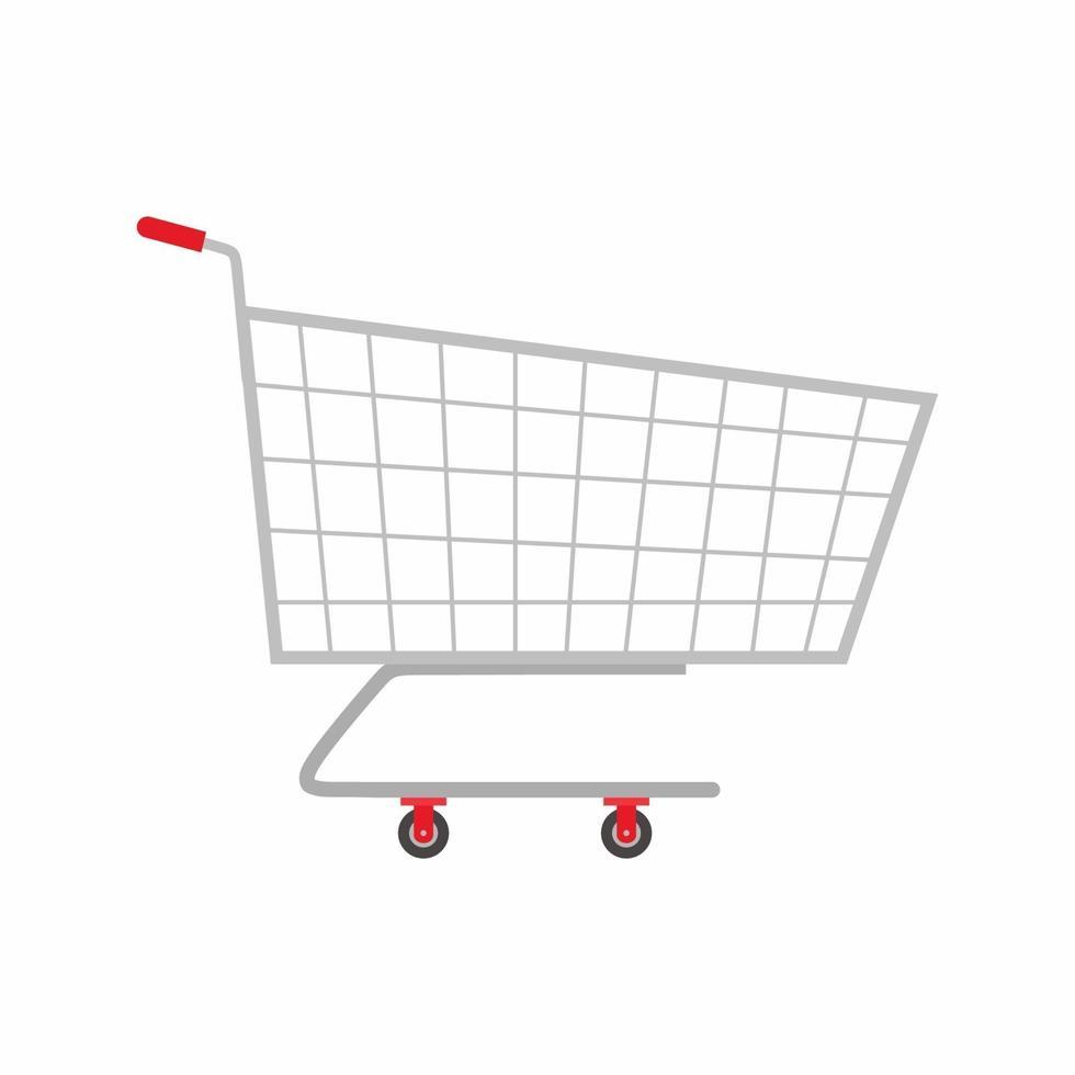 trolly plat pictogrammen. een lege supermarkt winkelwagentje vectorillustratie geïsoleerd op een witte achtergrond. mand voor supermarkt, trolley winkel metalen handkar cartoon-stijl. kruidenierswinkel thema vector