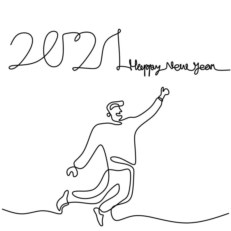 gelukkige mannen verwelkomen het nieuwe jaar doorlopend een lijntekening. man en vrouw in het concept van de nieuwe jaarpartij geïsoleerd op een witte achtergrond. het nieuwe jaar 2021 vieren. vector illustratie