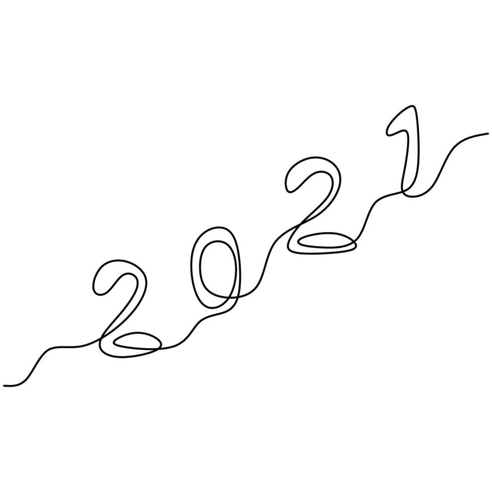 2021 nieuwjaarsontwerp in één doorlopende lijntekeningstijl. het jaar van de buffelstier. verwelkom het nieuwe jaar 2021. vieren nieuwjaarsfeest conceptontwerp minimalisme. vector illustratie