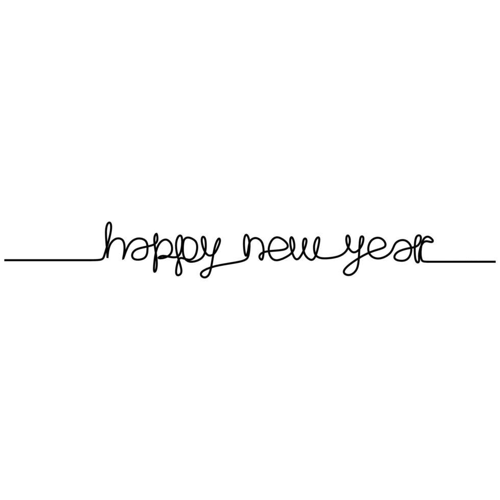 gelukkig nieuwjaar handgeschreven inscriptie één doorlopende lijntekening tekst voor wenskaartontwerp. jaar van de stier, os. Chinees Nieuwjaar. viering partij concept. vector minimalisme stijl