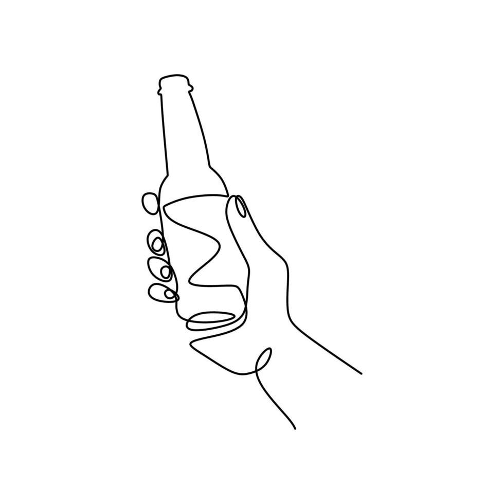 een lijntekening van hand met champagnefles geïsoleerd op een witte achtergrond. een fles wijn om het 2021 nieuwe jaar lineaire stijl teken concept minimalisme ontwerp te vieren. vector illustratie