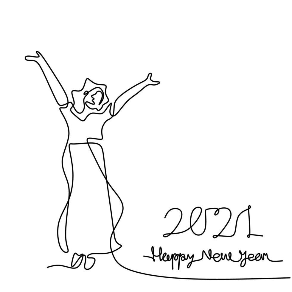 continu een lijntekening van de vrouw viert het nieuwe jaar 2021. gelukkig jong meisje opstaan en haar hand opsteken om het nieuwe jaar te verwelkomen. nieuw jaar, nieuwe hoop. jaar van de stier. vector illustratie