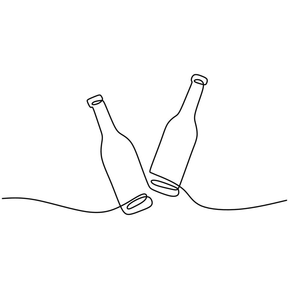 een lijntekening van champagnefles geïsoleerd op een witte achtergrond. een fles wijn om het 2021 nieuwe jaar lineaire stijl teken concept minimalisme ontwerp te vieren. gelukkig nieuwjaar. vector illustratie