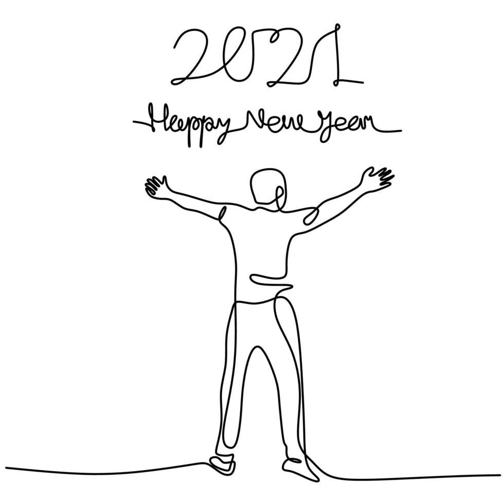continu een lijntekening van de mens viert het nieuwe jaar 2021. gelukkig jong mannetje opstaan en zijn hand opsteken om het nieuwe jaar te verwelkomen. nieuw jaar, nieuwe hoop. jaar van de stier. vector illustratie