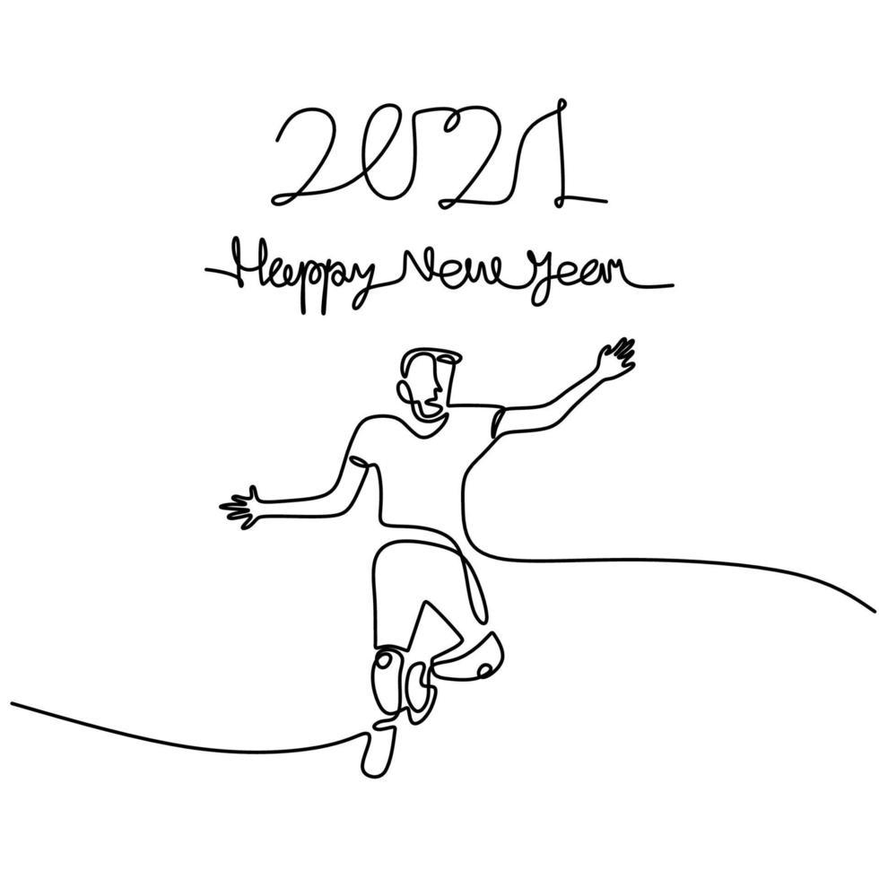 gelukkige vrouw verwelkomt het nieuwe jaar continu een lijntekening. man en vrouw in het concept van de nieuwe jaarpartij geïsoleerd op een witte achtergrond. het nieuwe jaar 2021 vieren. vector illustratie