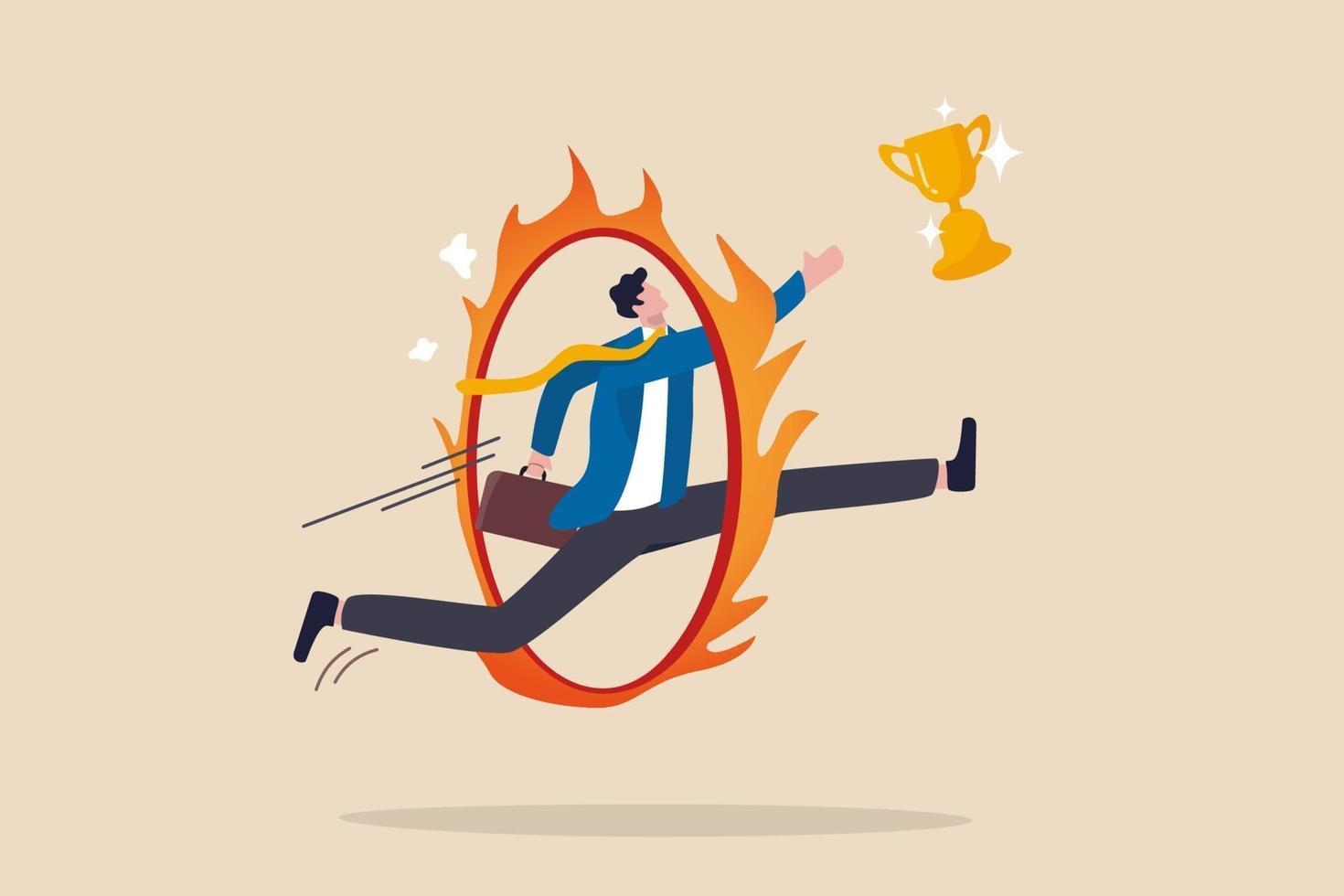 zakelijke uitdaging, obstakel, risico of gevaar dat moet worden overwonnen om een succes, prestatie of beloning voor werkinspanningsconcept te worden vector