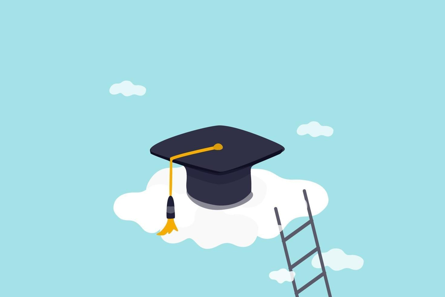 hoog onderwijs, kosten en uitgaven om het concept van het hoge opleidingsonderwijs af te studeren, afstudeerpet op hoge wolk met ladder. vector