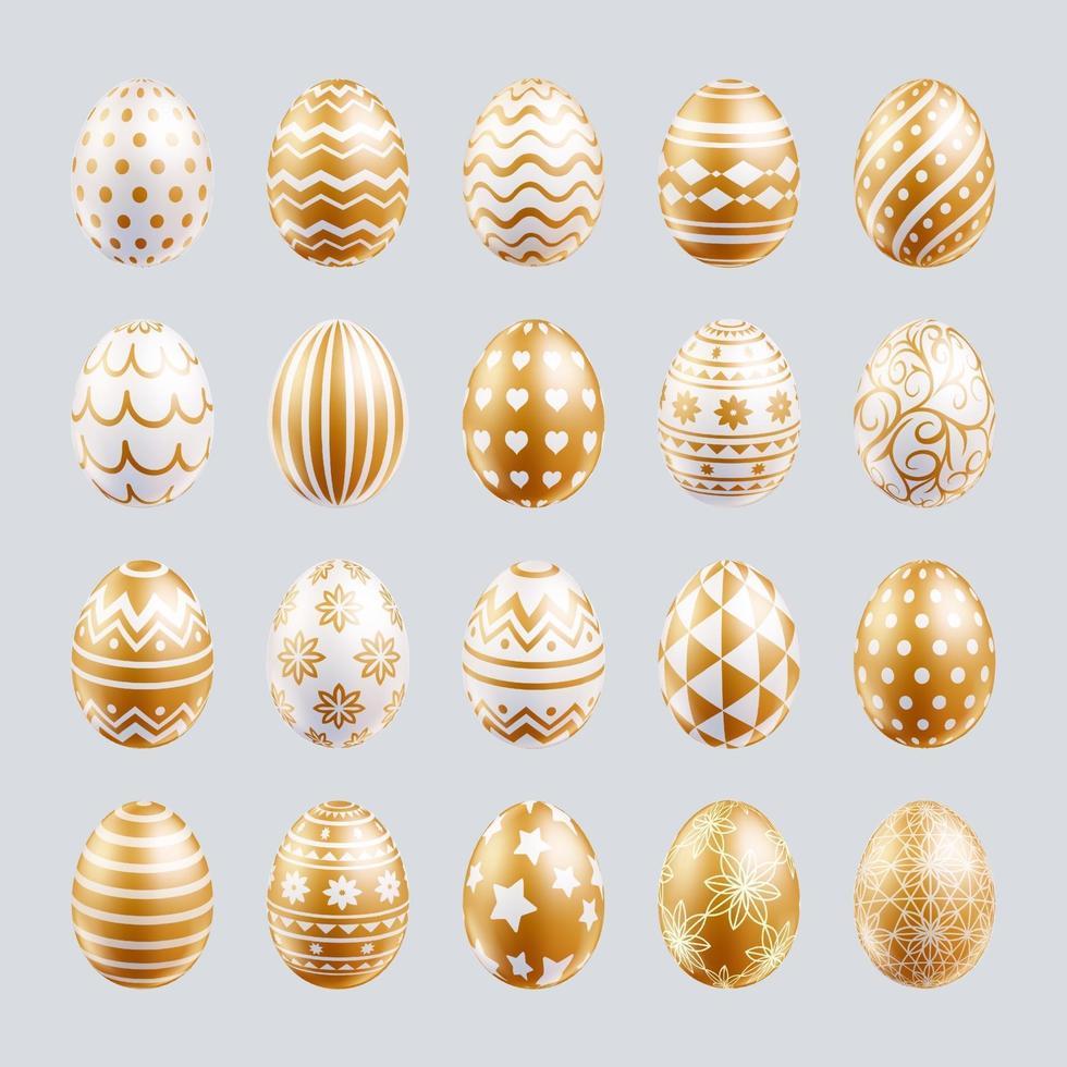 paaseieren instellen gouden kleur met verschillende en patronen textuur. vector illustraties.