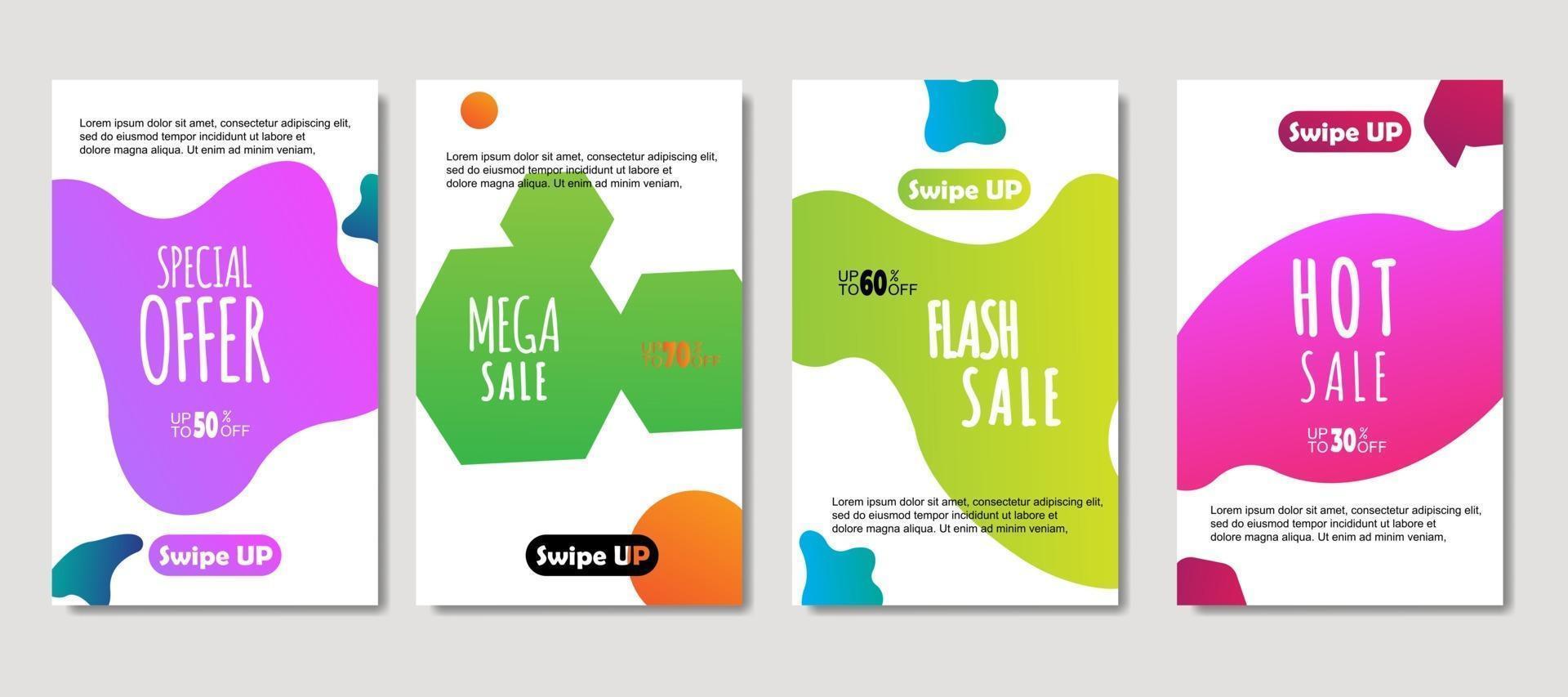 dynamische abstracte vloeibare mobiel voor verkoopbanners. verkoop sjabloonontwerp spandoek, mega-verkoop speciale aanbieding-set. ontwerp voor flyer, cadeaubon, poster aan de muur, omslagboek, banner, sociale media vector