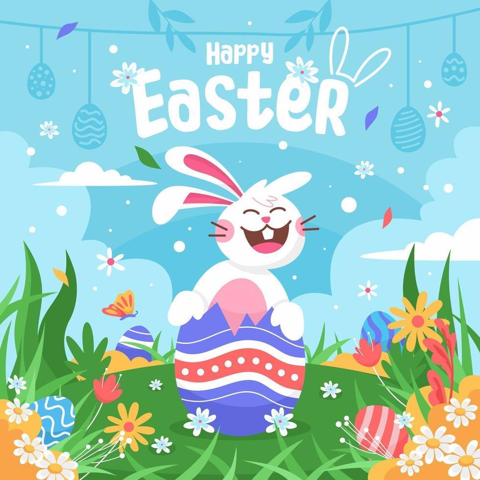 vrolijk Pasen met een gelukkig lachend konijn vector