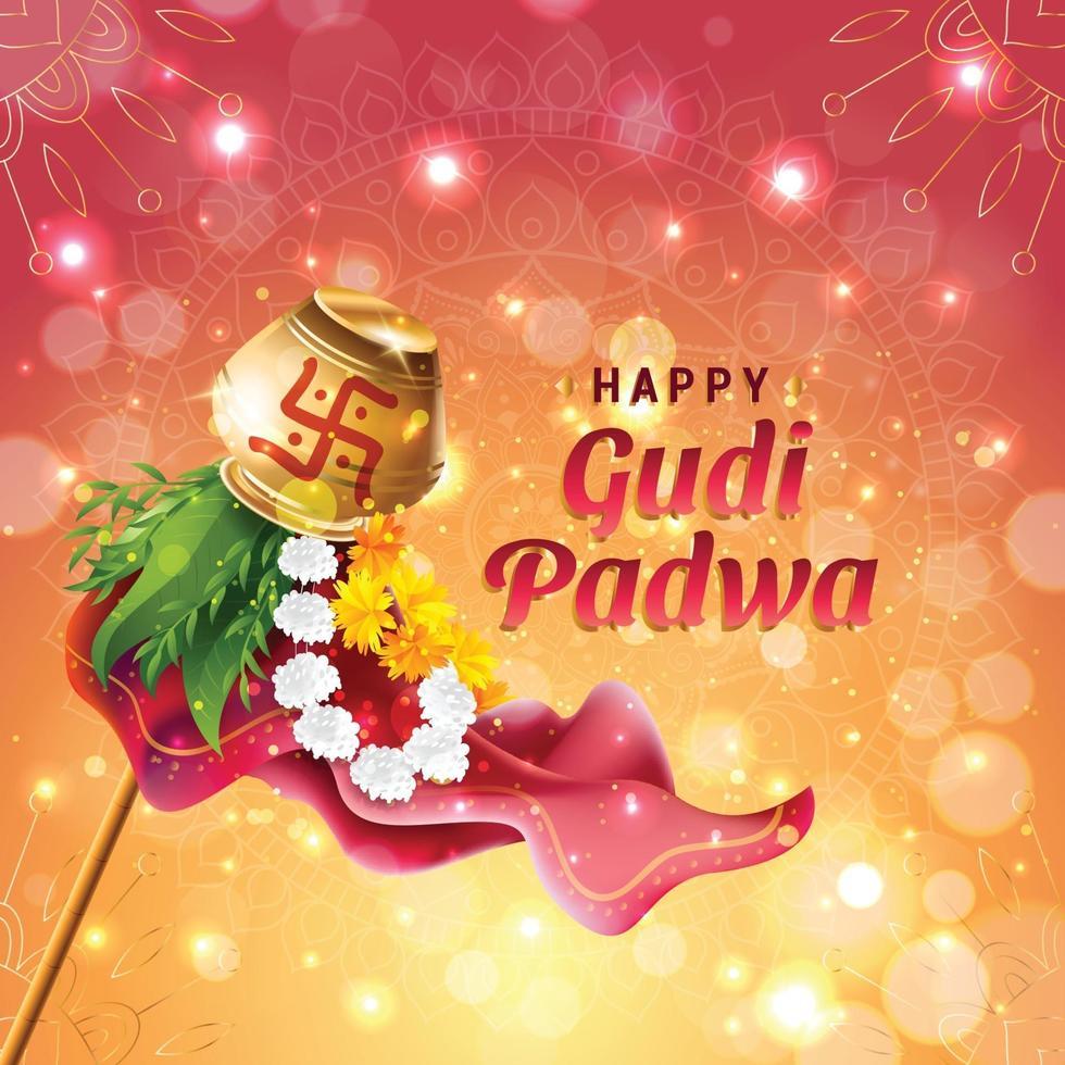 happy gudi padwa viering concept vector