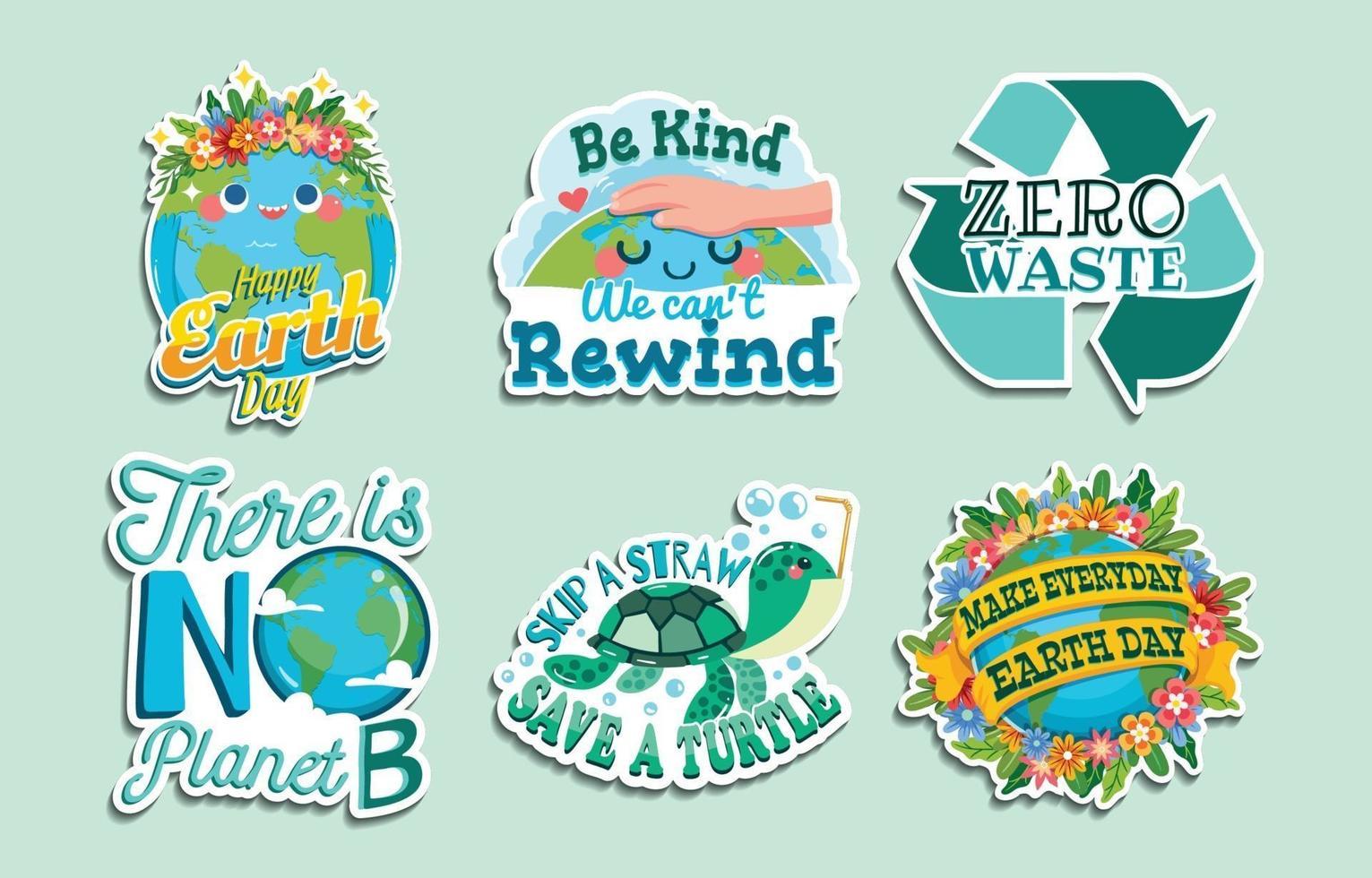 schattige gelukkige aarde dag stickers vector