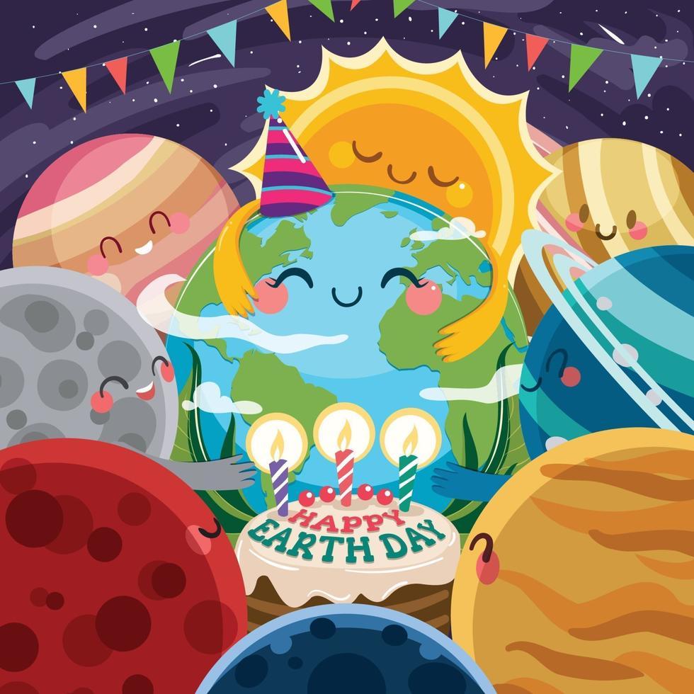 aardedag vieren met planeten van het zonnestelsel vector