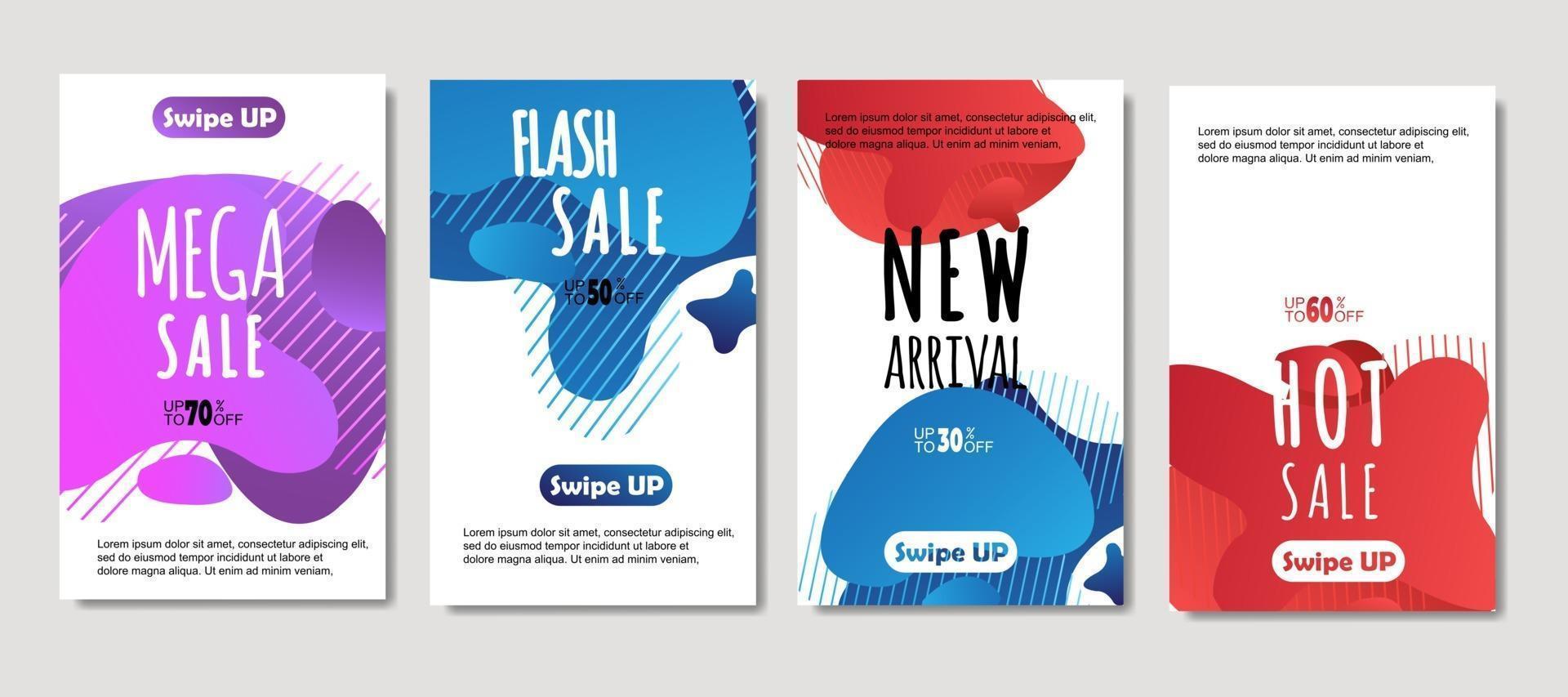 dynamische abstracte vloeibare mobiel voor verkoopbanners. verkoop banner sjabloonontwerp, mega sale speciale aanbieding set, ontwerp voor flyer, cadeaubon, poster aan de muur, omslagboek, banner, sociale media vector