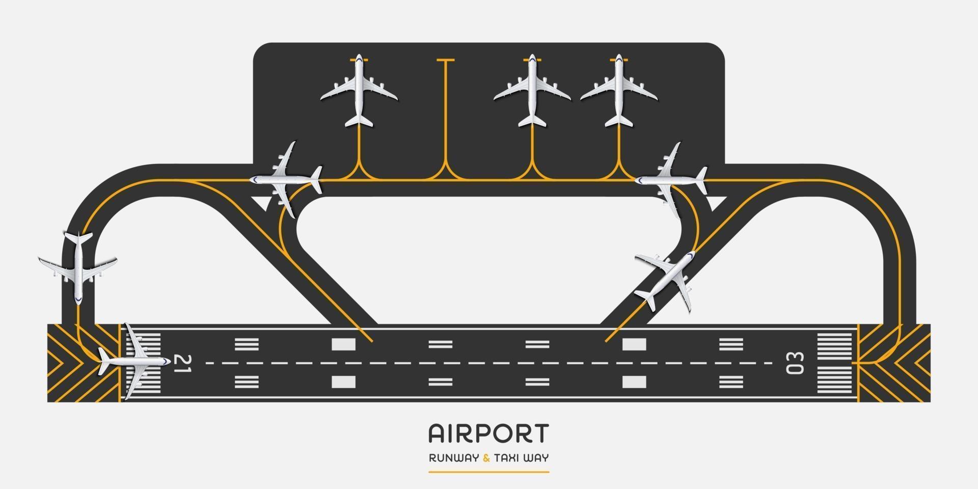 bovenaanzicht van de landingsbaan van de luchthaven en taxibaan met vliegtuig, vectorillustratie vector