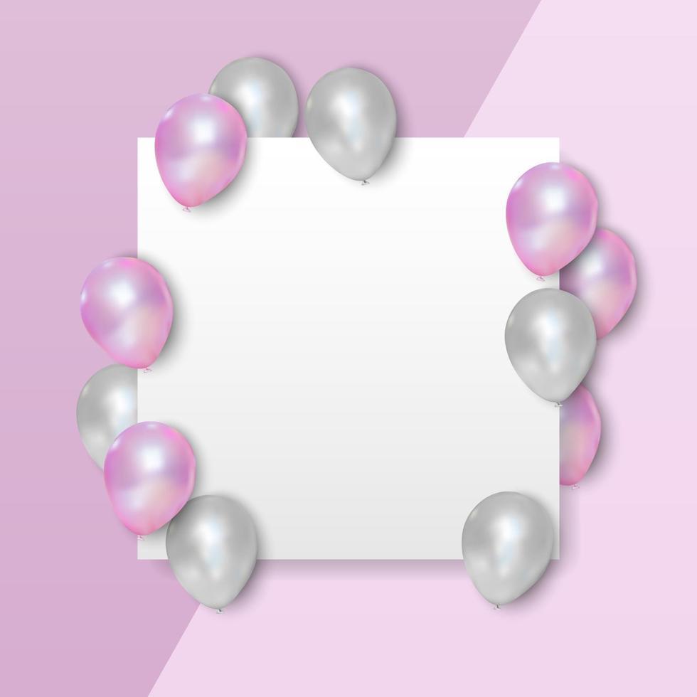 roze en witte ballonnen op lege witte achtergrond, vectorillustratie vector