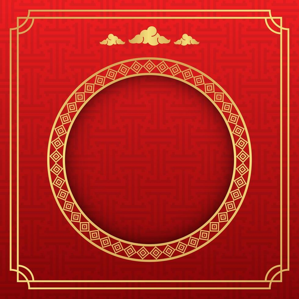 Chinese achtergrond, decoratieve klassieke feestelijke rode achtergrond en gouden frame, vectorillustratie vector