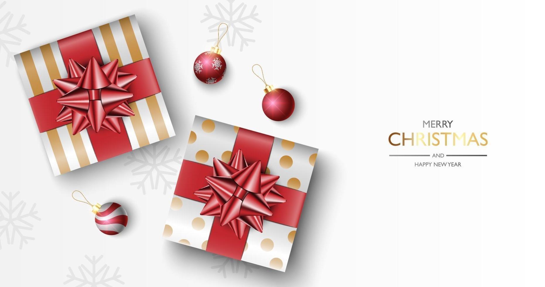 Kerstcadeaus vak achtergrond, Kerstaffiche, wenskaart, vector illustratie