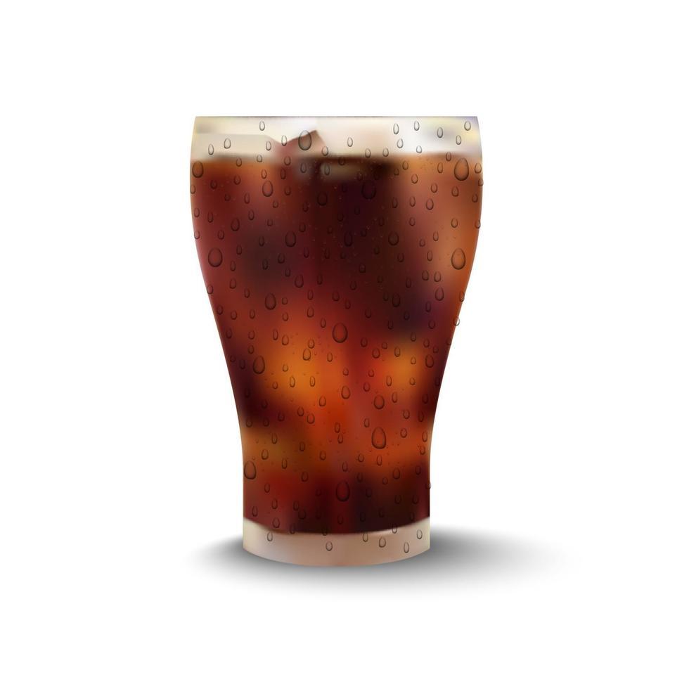 cola in glas op witte achtergrond, vectorillustratie vector
