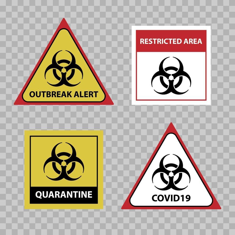 Waarschuwingsbord voor biohazard, covid 19-uitbraakwaarschuwingsbord, vectorillustratie vector