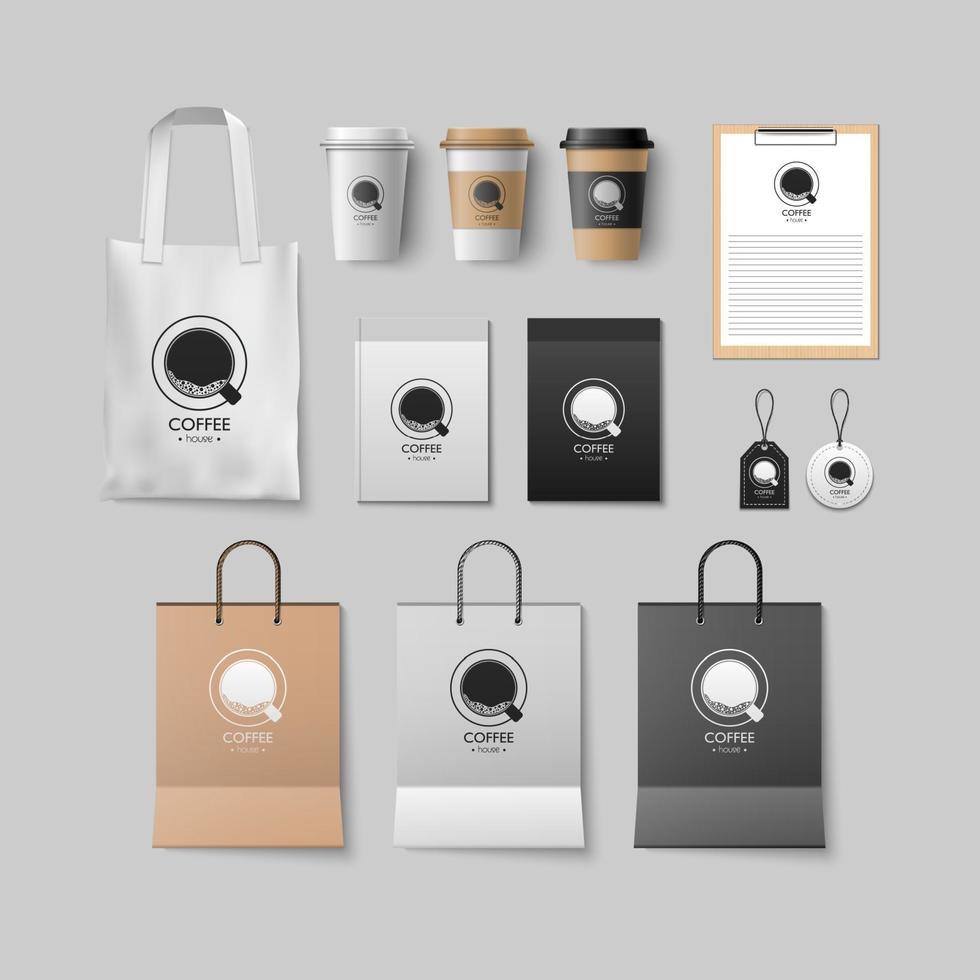 coffeeshop mockup set, koffie pakketontwerp voor corporate, vectorillustratie vector
