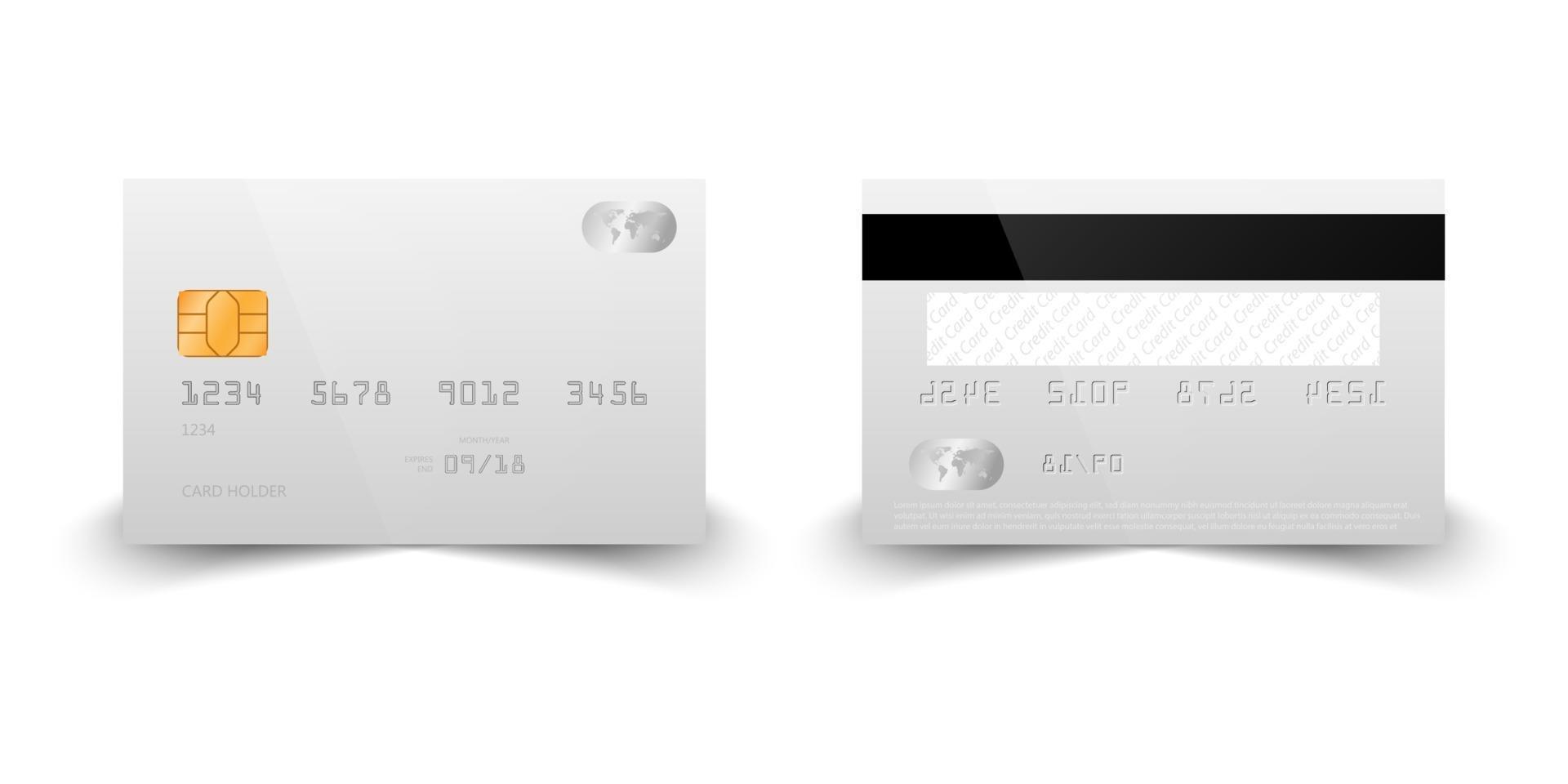 realistische creditcard mockup sjabloon, vectorillustratie vector