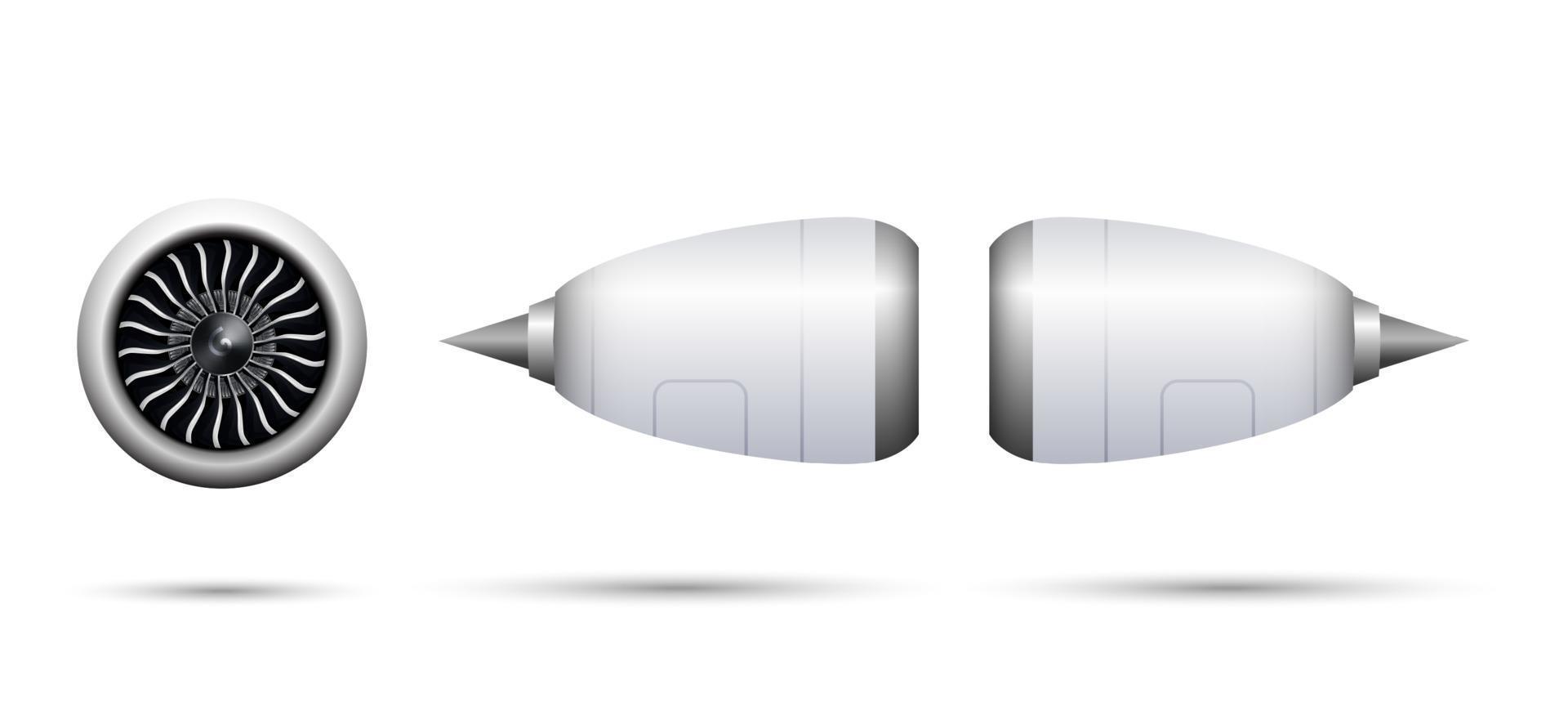 realistische turbostraalmotor van vliegtuig dat op witte achtergrond, vectorillustratie wordt geïsoleerd vector