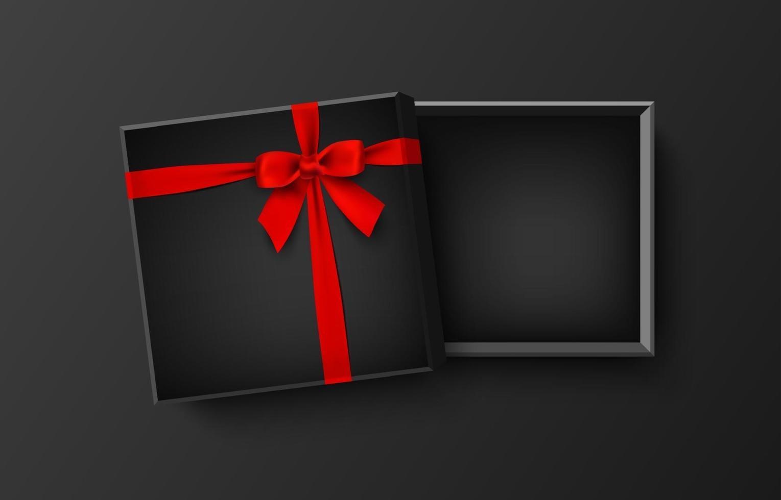 geopende zwarte lege geschenkdoos met rode strik en lint, vectorillustratie vector