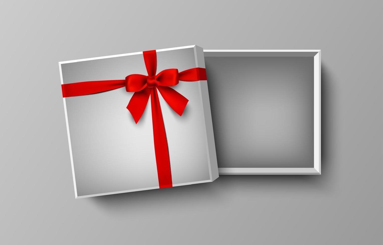 geopende witte lege geschenkdoos met rode strik en lint, vectorillustratie vector