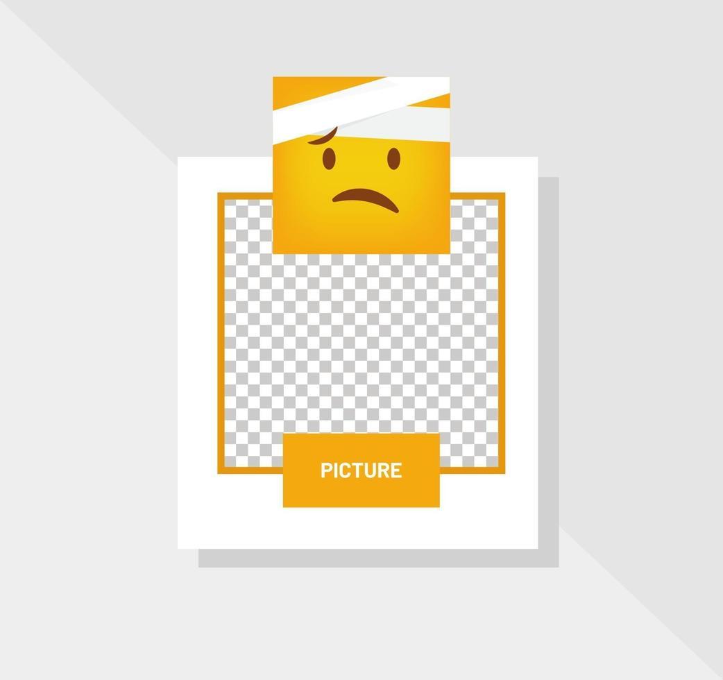 emoticon gekwetst reactie wenskaart vector