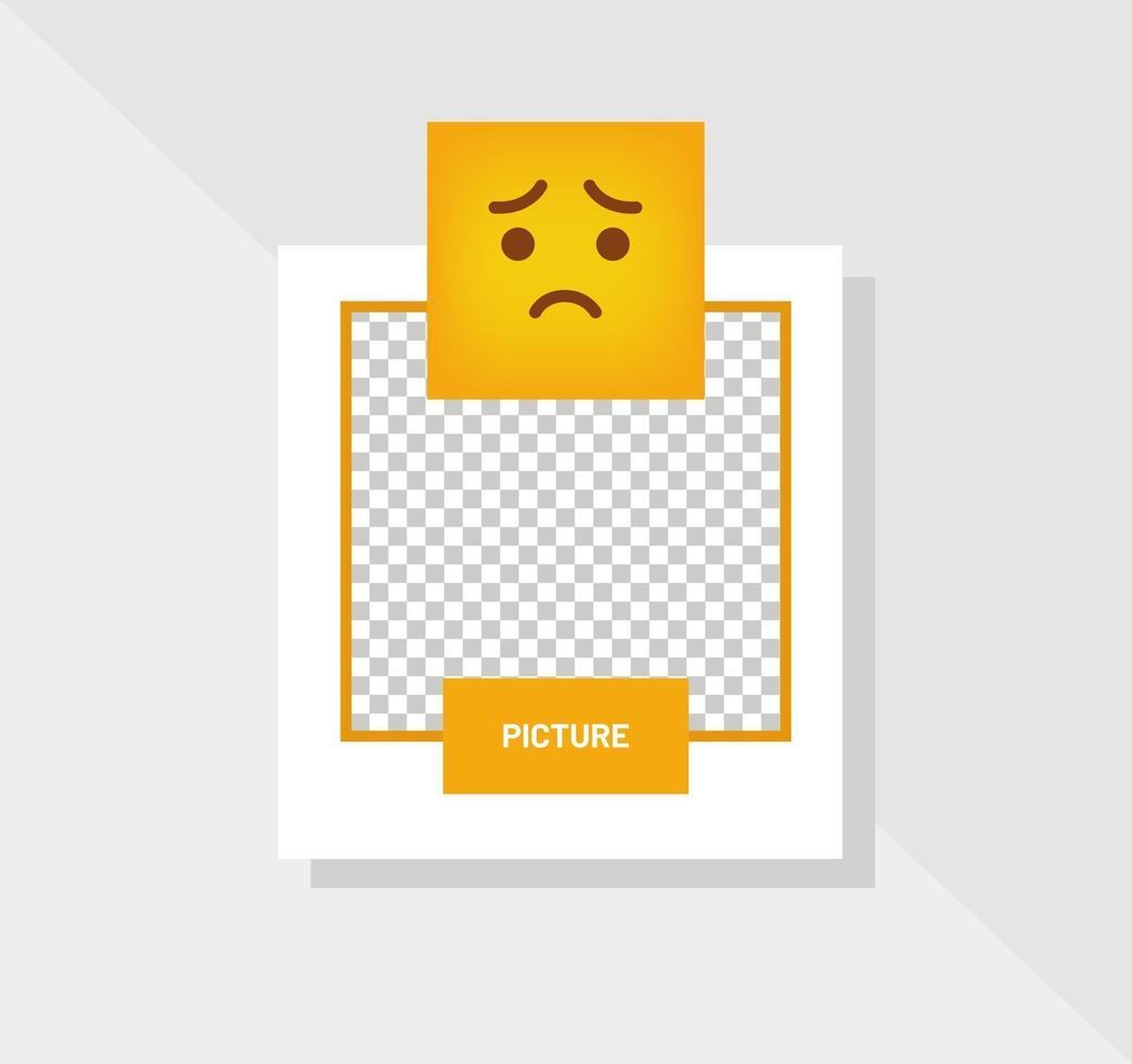 reactie emoticon triest wenskaart vector