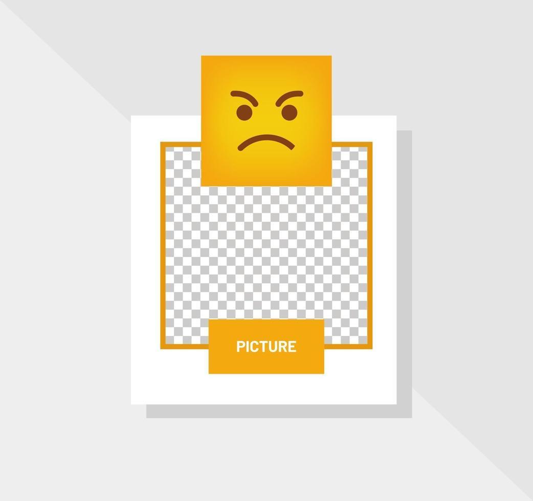reactie emoticon boos gezicht wenskaart vector